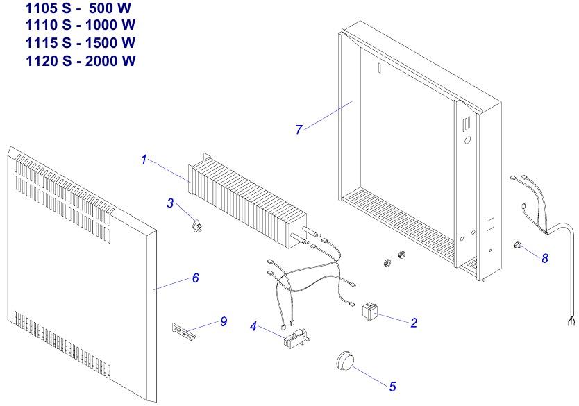 Protherm 1105 S - 500 W, 1110 S - 1000 W, 1115 S - 1500 W, 1120 S - 2000 W